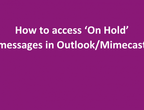 How to access Mimecast 'On Hold' messages